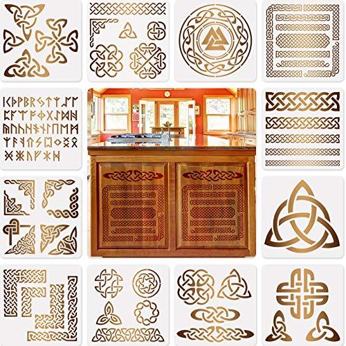 12 Stücke Knoten Schablonen Wikinger Symbol Vorlagen Schablonen für Scrapbooking Zeichnung Rückverfolgung DIY Möbel Wand Fußboden Dekoration