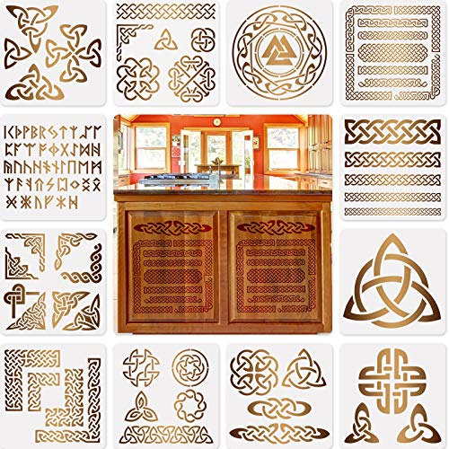 12 Pieces Celtic Knot Stencils Viking Symbol Templates Stencils for Scrapbooking Drawing Tracing DIY Furniture Wall Floor Decoration