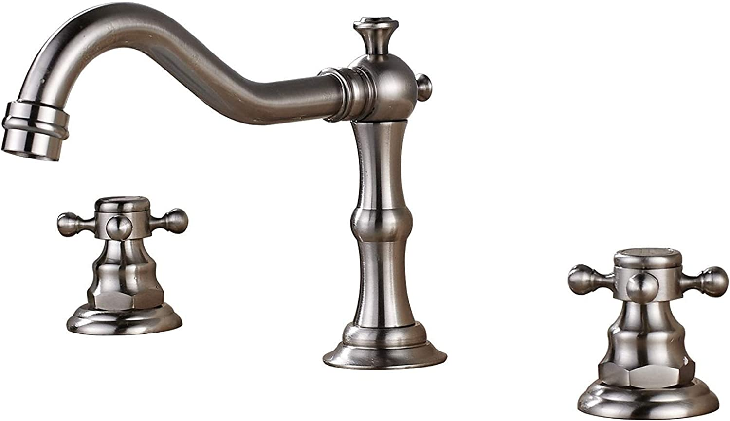 QIMEIM Bathroom Sink Vessel Faucet Basin Mixer Taps Washbasin Faucet Deck Mounted Three Holes Double Handles Widespread Brushed Nickel Sink Tap for Bathroom Kitchen Faucet