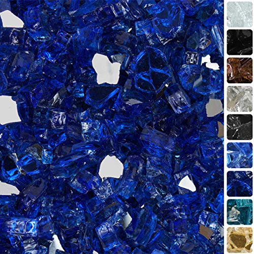 """Celestial Fire Glass High Luster, 1/2"""" Reflective Tempered Fire Glass in Meridian Blue 