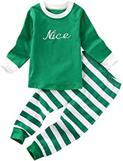 Xinantime Christmas Kids Baby Girls Boys Letter Tops and Striped Pants 2Pcs Set Outfit Clothes