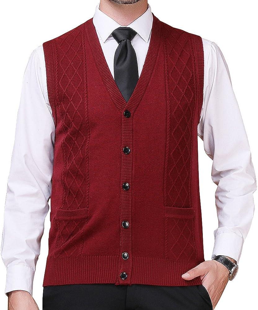 FULIER Mens Winter Wool V-Neck Sleeveless Vest Casual Gentleman Business Knitwear Cardigans Knitted Sweater Tank Tops