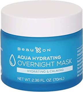 Best BeauKON Aqua Hydrating Overnight Mask, Hyaluronic Acid, Hydrating and Calming Sleeping Mask, Cooling Gel for All Skin Types (2.36 Oz) Reviews