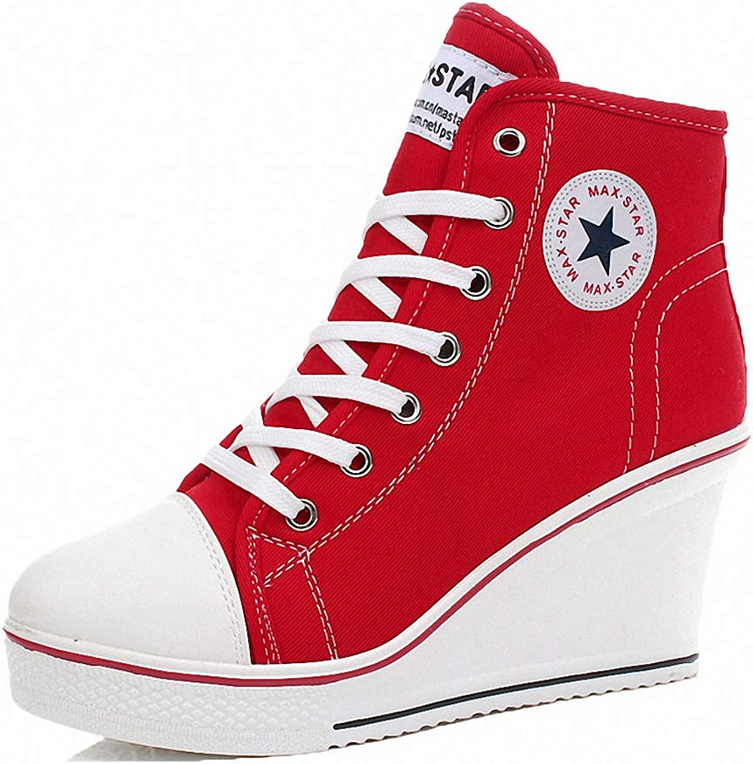 York Zhu Women Fashion Sneaker, Platform Wedges Canvas High Top Sneakers