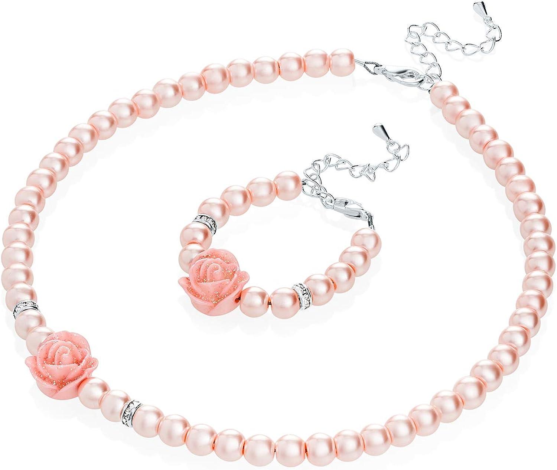 Multi Crystal Necklace Earrings Jewelry Set Pretty Flower Girl Proposal Girld Kids