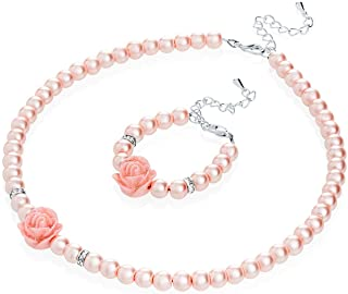 Crystal Dream Flower Girl Pink Simulated Pearls Flower Necklace with Bracelet Toddler Gift Set (GSTNB2-P_M) …