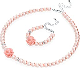 Crystal Dream Flower Girl Pink Simulated Pearls Flower Necklace with Bracelet Toddler Gift Set (GSTNB2-P)