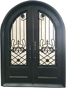 ALEKO IDRD55 Iron Dual Door Ornamental Design with Arched Frame and Threshold - 96 x 108 x 6 Inches - Matte Black