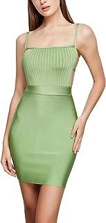 FLYCOOL Women Sexy Spaghetti Strap Rayon Bandage Bodycon Midi Dress