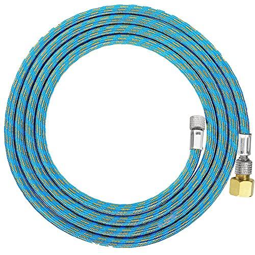 エアブラシホース 1.8M ナイロン編組 ブレードホース スパイラル 1/4 1/8 フィッティング ジョイント付き エアブラシ 接続用ホース 柔軟性 エアブラシ エアーレギュレーター エアコンプレッサー接続用 ブルー