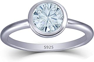 Platinum Plated Silver 1CTW 1.6mm Band Width 6.5mm Moissanite Engagement Ring Bezel Setting for Women