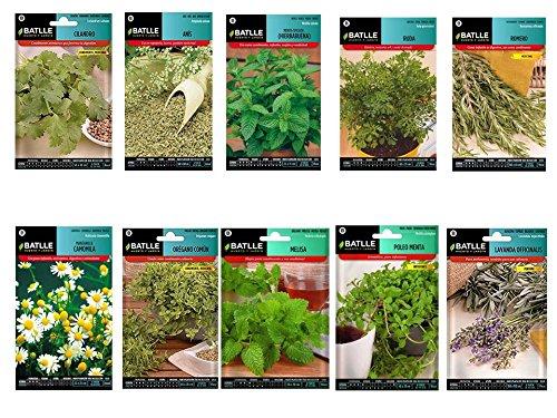 Semillas aromaticas lote 10 sobres (Lavanda, Melisa, Oregano,Manzanilla, Poleo Menta, Romero, Ruda, Hierbabuena, Anis, Cilandro)