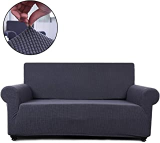 FAIRYLAND Sofa Cover loveseat Chair Slipcover,1 Piece Couch Shield Furniture Protector with Elastic Bottom (Loveseat, Gray)