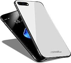 iPhone7 Plus ケース / iPhone8 Plus ケース 薄型 軽量 LIDOFIGO 強化ガラスケース 耐衝撃 全面保護 スマホケース おしゃれ かわいい アイフォン7プラスケース 高級感 Qi 充電 対応 ストラップホール付き アイフォン8プラスケース シリコン (iPhone8/7 Plus, ホワイト)