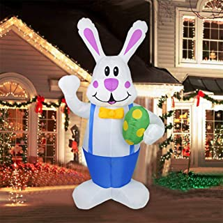 Mochalight 1.9m Inflatables Rabbit with Egg Outdoor Indoor Easter Holiday Decorations Yard Lawn Inflatables Decor with Led...