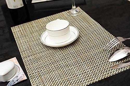 Tischset Platzset Clest F&H 4-4 khaki Platzmatte gewebt aus Kunststoff 45x30 cm(2er Set)