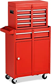 Goplus 5-Drawer Rolling Tool Chest, Tool Storage Box, Removable Tool Cabinet, Sliding Metal Organizer w/Lockable Drawers (Red)