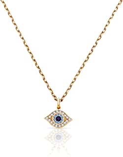 Real 14K Yellow Gold Evil Eye Wisdom Pendant with Aqua Colored Stone Accents for Women and Girls