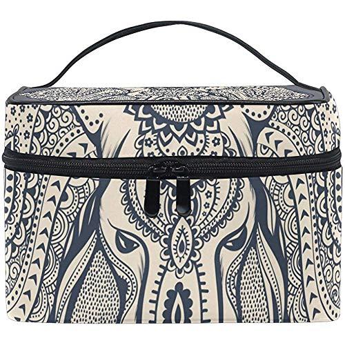 Make-up tas met ritssluiting in Bohemian-stijl, olifanten-design, draagbaar, multifunctioneel, Case-964-SCNO