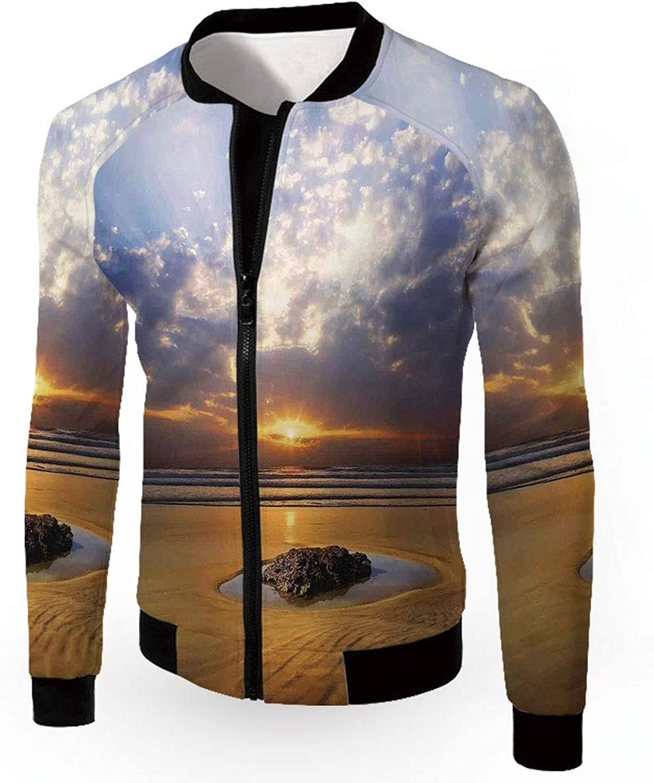 d16ce006c9b8 IPrint Men's Jackets,Ocean Decor,Fashion Lightweight Hoodie Zip-up ...
