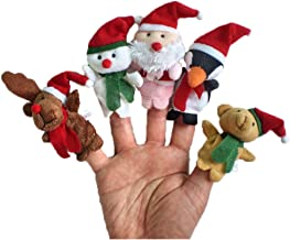 HuiKai5pc Story Times Christmas Santa Claus and Friends Finger Puppets Toy