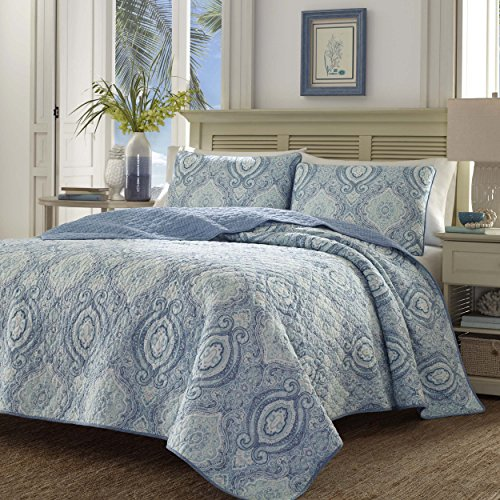 Tommy Bahama 220637 Turtle Cove Caribbean Quilt Set,Harbor Blue,King