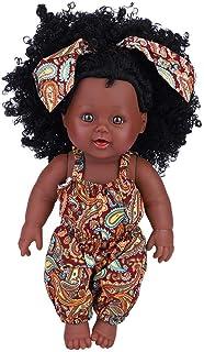 Semme Semme Simulation Baby Mädchen Puppe, 30 cm Vinyl Wasserdichte Realistische Weiche Schwarze Haut Strampler Puppe Für Kinder Frühe PädagogischeYellow Floral Jumpsuit