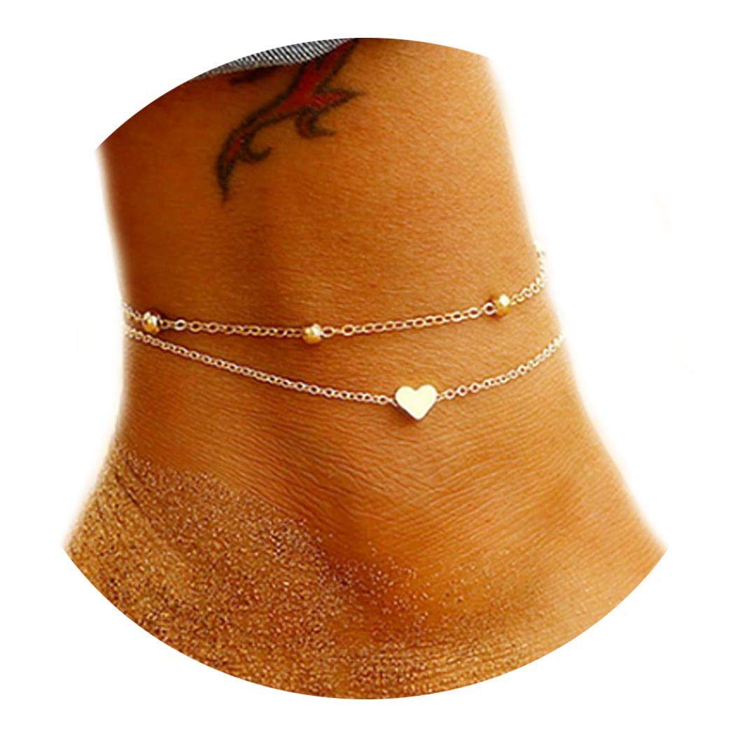 YBSHIN Boho Popularity Double Heart Anklet Bracelet Beach Special price for a limited time Chain Foot Ankle