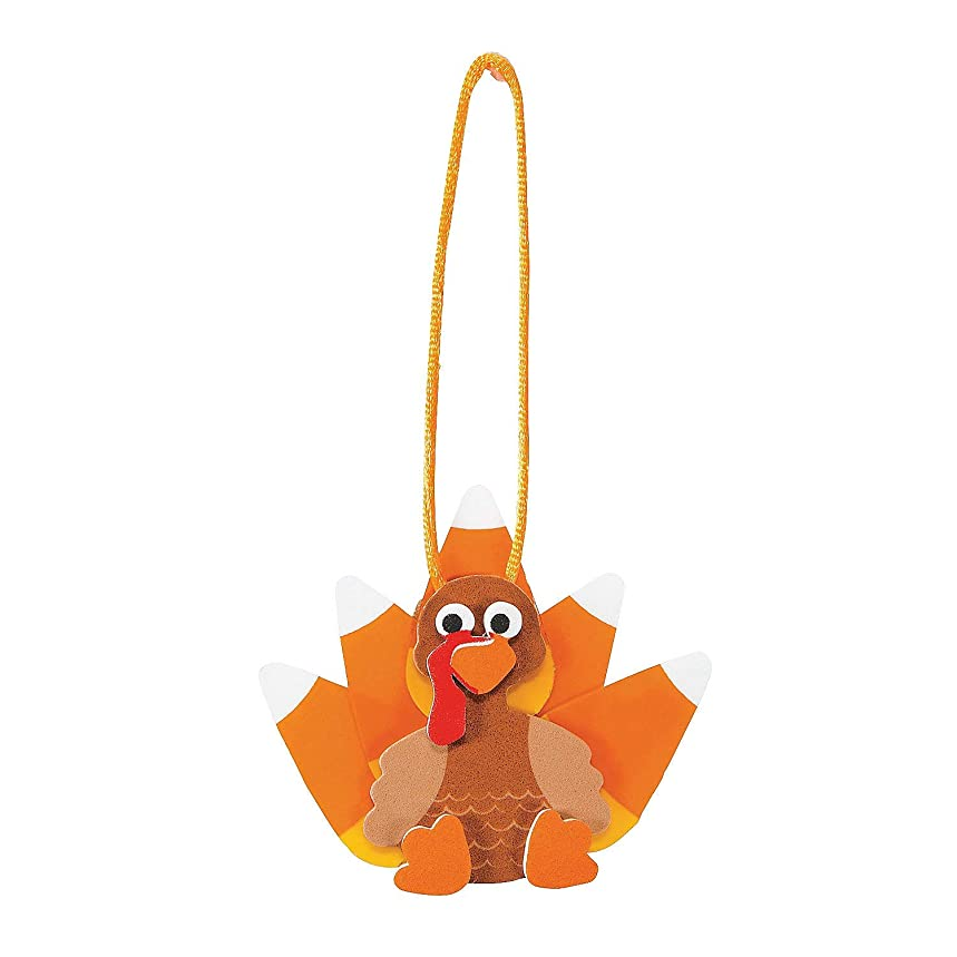 Set of 12 Candy Corn Turkey Ornament Foam Craft Kit ~ Thanksgiving Fall Fun!