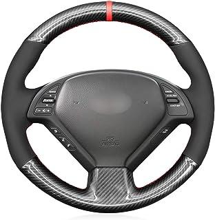 غطاء عجلة القيادة مخيط يدويًا من ألياف الكربون والجلد السويدي لمقود السيارة إنفينيتي G25 G35 G37 2007-2013 EX35 EX37 2008-...