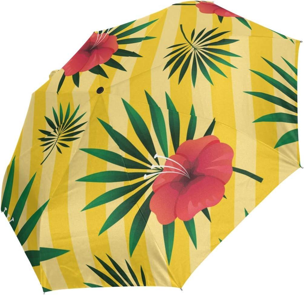 Mini Phoenix Mall Folding Umbrella Tropical Leaf Yellow Windpr Floral Striped Sale Special Price