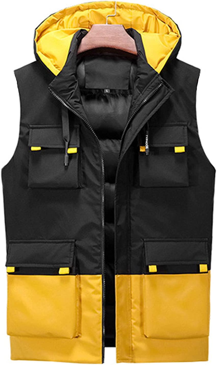 Uaneo Men's Casual Slim Thick Sleeveless Detachable Hoodie Colorblock Puffy Vest Jackets(Yellow-XL)