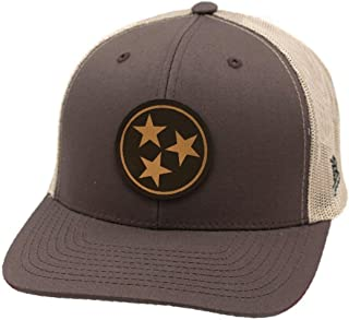 Branded Bills Tennessee 'The Tristar' Leather Patch Hat Curved Trucker