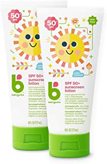 Babyganics Sunscreen Lotion 50 SPF, 6oz, 2 Pack, Packaging May Vary