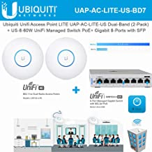 UniFi Access Point AC LITE UAP-AC-LITE-US 802.11ac Dual Band Radio (2-Units) with UniFi Managed Switch US-8-60W PoE+ 8-Ports Gigabit with SFP
