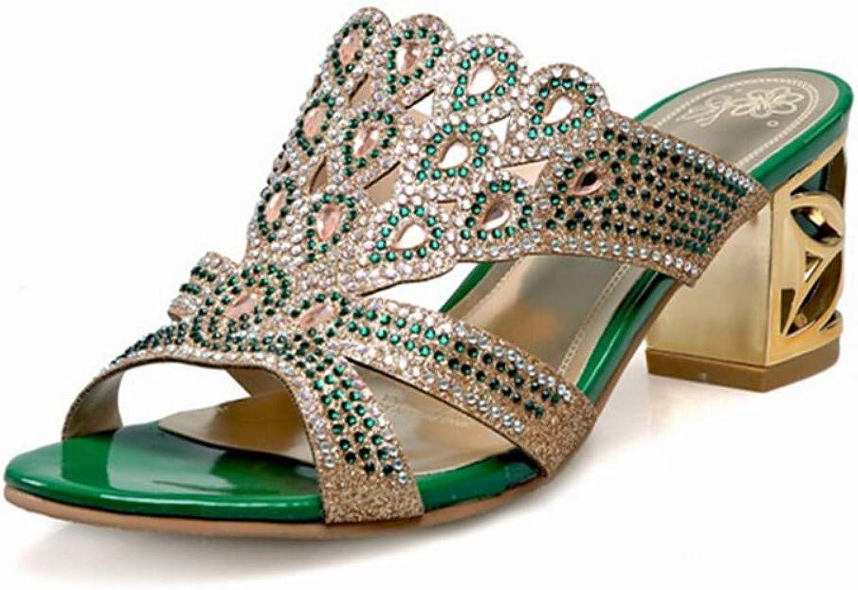 ZHZNVX Women's PU Summer Sandals Chunky Heel Open Toe Rhinestone Sequin gold Green Wedding Party & Evening