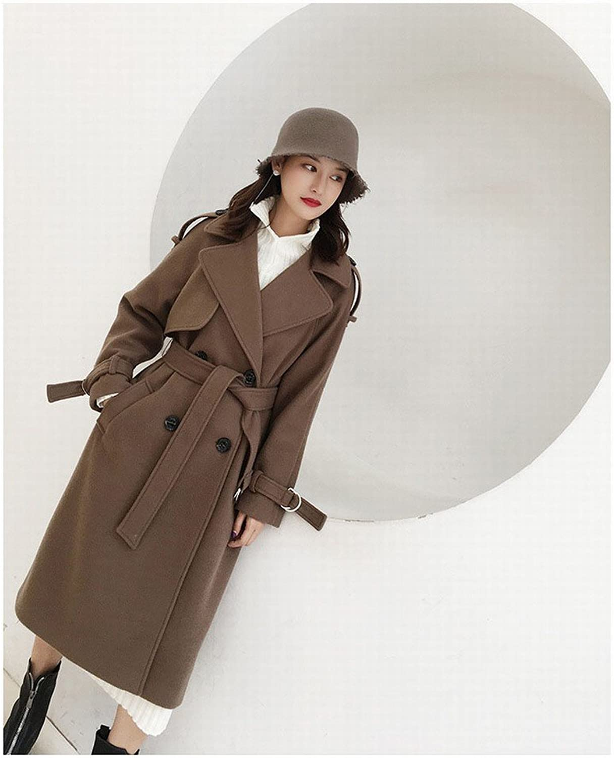 LD the Trend of the Lace Section of the Lengthening the color of the Coat is a Long Sleeves Fashion Woolen Coat