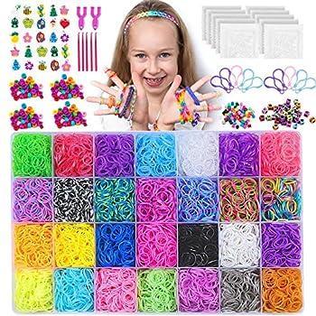 NEOWEEK 11900+ Colored Rubber Bands Bracelet Making Kit 11000 Loom Bands 600 S-Clips 252 Beads 25 Charms 10 Backpack Hooks 5 Crochet Hooks 2 Y Looms