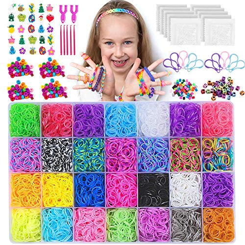 NEOWEEK 11900+ Colored Rubber Bands Bracelet Making Kit, 11000 Loom Bands, 600 S-Clips, 252 Beads, 25 Charms, 10 Backpack Hooks, 5 Crochet Hooks, 2 Y Looms