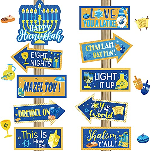 20 Pieces Happy Hanukkah Sign Hanukkah Door Decorations Hanukkah Cutouts Outdoor Decorations Happy Holidays Welcome Sign Paper Yarn Sign Lawn Decorations Photo Booth Props