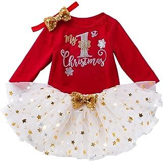 Baptism Gifts for Baby Girl,Toddler Baby Kids Girls Christmas Day Romper Tops Tutu Dress Hairband Set