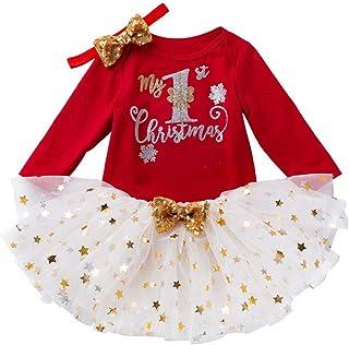 MOIKA_Bekleidung MOIKA Mädchen Kleider Baby Kleid Weihnachten Bekleidung Set, Babykleidung Langarm Outfits Strampler mit Röckchen  Stirnband Weihnachtskostüm, Santa Striped Tüll Kleid
