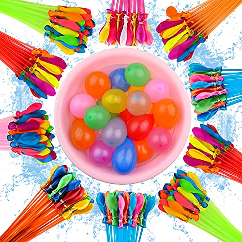 370 pieces Water balloons, 10 bundles with 37 water balloons each,Rapid fill self-sealing water balloons, Very suitable for beach, outdoor party activities(Random Color)