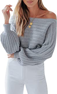 Zandiceno Women's Elegant Off Shoulder Lantern Sleeve Knit Pullover Sweaters Hollow Autumn Fashion Casual Wear