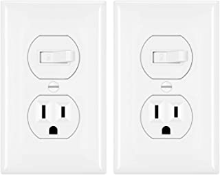 [2 Pack] BESTTEN Combination Toggle Light Switch and Duplex Receptacle Outlet, Single Pole Toggle Wall Switch, Grounded Outlet, Two-in-One Design, 15 Amp, UL Listed, White