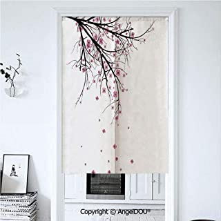 AngelDOU House Decor Summer Automatic Closing Curtains Valances Cherry Blossoming Falling Petals Flowers Springtime Park Simple Illustration Print Door Screen Partition Curtain 39.3x59 inches