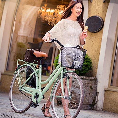 Bergsteiger Amsterdam 28 Zoll Damenfahrrad, ab 150 cm, Korb, Fahrrad-Licht, Damen-Citybike mit Rücktrittbremse, Hollandrad im Retro-Design - 4