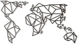 Hoagard Metal World Map Black   60cm x 100cm   Geometric Metal Wall Art & Wall Decoration