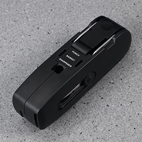 NUOLUX Multifunctional Office Stationery Set, 10 in 1 Multitool Scissor Flexible Rule Pencil Sharpener Stapler Cutter Screwdriver Puncher Nail Puller Durable Stainless Steel Tools (Black)
