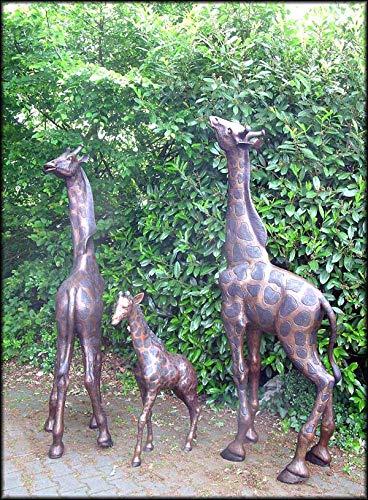 H. Packmor GmbH Bronzeskulptur Giraffe Giraffenfamilie Dekoration für ihren Garten
